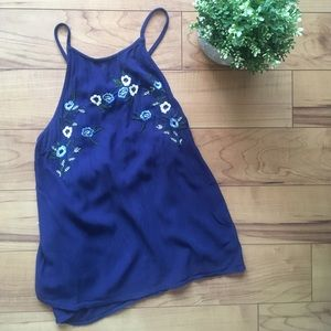EUC GUESS Floral Embroidered Top Criss Cross Back